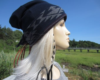 Bohemian Clothing Tribal Print Hat Slouchy Beanie Leather Corset Tie Back Navy Blue Knitted Cuff Beenie A1665