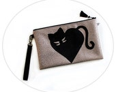 Handbag Large Clutch Bag Love Cat - Gold Vegan Leather Cat Heart Tassel