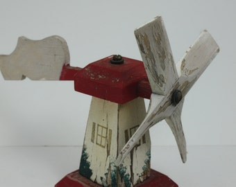 Vintage Wooden Whirligig Whirlygig Windmill Dutch Windmill Wood Shoe Red White Rustic Primitive Folk Art Yard Art Garden Decor