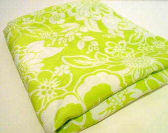 Lime Green Print Fabric, Mystery Fabric, 1 yd Remnant, Lightweight Sewing Material