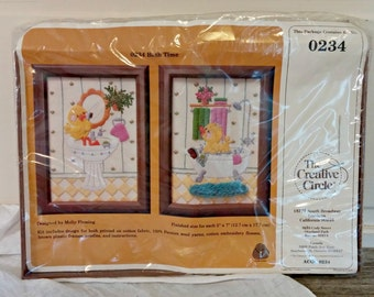 Vintage Stitchery Kit | Ducky Bath Time Wall Hangings