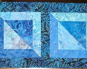 Batik Table Runner in  Aqua, Blue,  Batiks