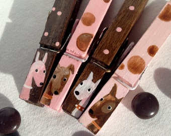 DOG CLOTHESPINS painted magnets pink and brown