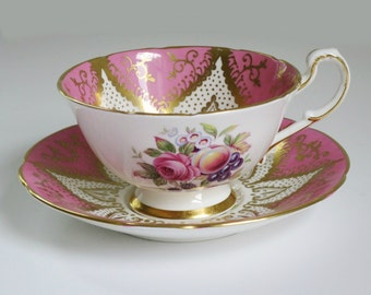 Vintage Pink Paragon Tea Cup and Saucer,  Vintage Pink Gold Teacup and Saucer, Paragon Bubble Gum Pink Cup and Saucer  SwirlingOrange11