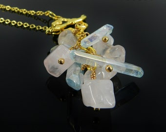 Crystal Cluster Necklace and Earrings in Pink and Blue Quartz