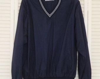 Mens Sweatshirt, Vintage Russell Athletic Sweatshirt, Navy Blue V neck Water Repellant Sports Shirt Slicker, Gym Windbreaker, Size XL