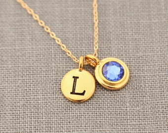 Gold Grandmas Necklace, Gold Sapphire Jewelry, Personalized Initial Gold Sapphire Neckalce, New Mom Gift