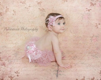 Baby Girl Pink and Dusty Rose Sash,Flower Sash,Baby Girl Photo Prop,Formal lace sash