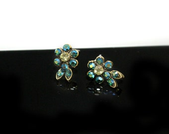 Small Flower Stud Earrings with Teal AB Swarovski Crystals