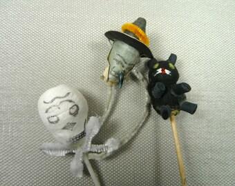 Vintage Spun Cotton Halloween Picks Cupcake Toppers Skull Witch Retro Orange Black Cat Decorations