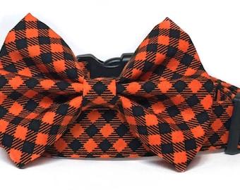 Orange Black dog bow tie, Halloween Dog Collar, Plaid Dog Collar, Black Orange dog bow / Dog bowtie / Fall Dog Collar, Orange dog collar