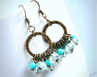 shelly rustic stone and hammered copper hoop earrings, rustic, boho, aqua copper, turquoise