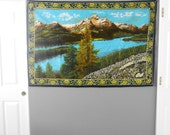 vintage turkish mountain lake wall hanging tapestry / wall hanging art / textile / mural