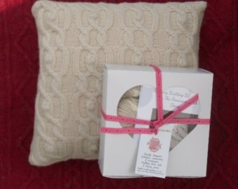 Cable Cushion knit , knit your own home decor in natural undyed 100% British Wool  , full instructions and yarn included