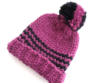 Striped hand knit beanie hat , winter thick knit  , pink Christmas gift , woolly gift for her , fitted beanie for women ,  knitted hat