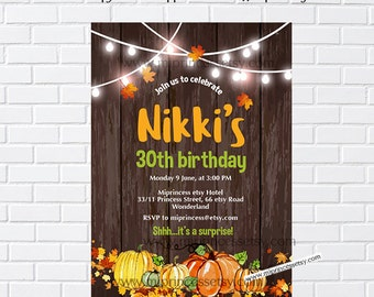 Pumpkin Birthday Invitation, sweet Pumpkin Girl birthday party, any age, first 1st 2nd 3rd 30th 40th 50th 60th 70th 80th - card 997