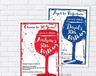 wine invitation, Wine birthday invitation, Aged to Perfection, cheers to , Invitation, wine theme Party invitation Design - card 921