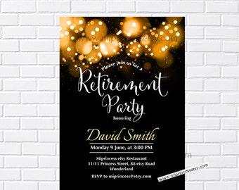 Retirement Invitations,  Retirement party Invitation,  Retirement Celebration  retro vintage Invite, glitter elegant design- card 931