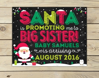 Christmas Big Sister Announcement Chalkboard Sign Printable - Promoted to Big Sister - Christmas Baby Announcement Sign - Pregnancy Reveal