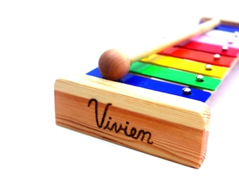 Wooden Xylophone PERSONALIZED Musical Play Instrument Waldorf Toy