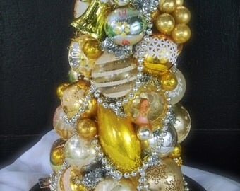20% OFF SALE!!! Vintage Topiary Tabletop Centerpiece - Heavenly Gold - ANGEL on Top - Gold, Silver, Cream - Holiday Decor