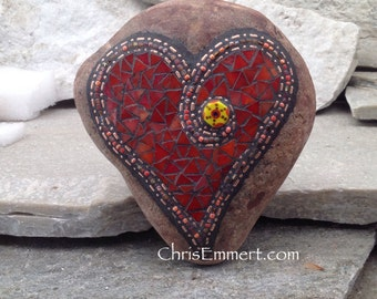 Red/Orange Mosaic Rock, Gardener Gift, Home Decor, Mosaic Garden Stone