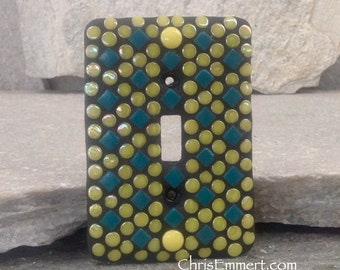 Mosaic Switch Plate Cover, Switch Plate, Single Toggle, Teal and Yellow