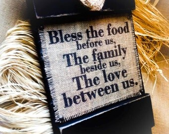 Bless The Food Before Us Sign , Burlap Signs , Shutter Signs , Wood Signs , Kitchen Sign , Dining Room