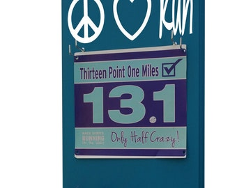 race bibs holder, peace love run. Piece sign logo with heart logo and script word run, gifts for runners