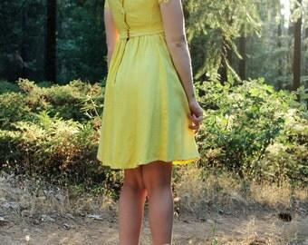 LEMON Vintage Designer Emma Domb Dress 1960's Mini Dress Vibrant Yellow