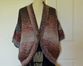 Hand knitted oversized sweater/cardigan  in chunky wool, shades of brown Medium