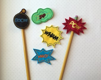 Superwords Pencil Toppers- Sold Individually or as a set of 5 for 10.00