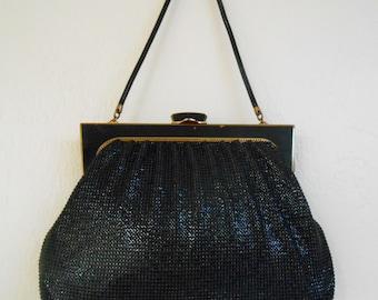 Vintage 1950s OROTON large / oversized sturdy mesh kelly bag / satchel / handbag with satin lining
