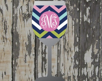 PINK NAVY monogrammed wine glass coolie - coffee cup coolie - tumbler coolie - SOLO® cup coolie