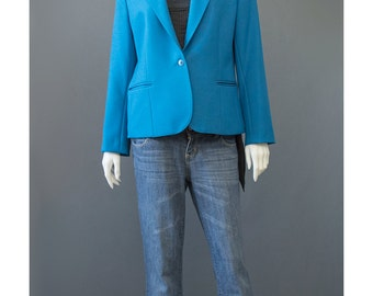 Vintage 70s Blazer - Slate Blue Blazer Jacket - 70s Jacket - Haberdashery Womens Suit jacket - 1970s Blazer - Blue Jacket - M/L