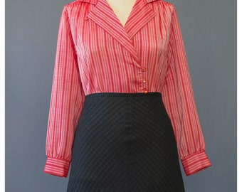 Vintage 70s Blouse - Striped Red Blouse - St Michael Double Breasted Organza Secretary Blouse - 1970s Blouse - Striped Blouse S/M