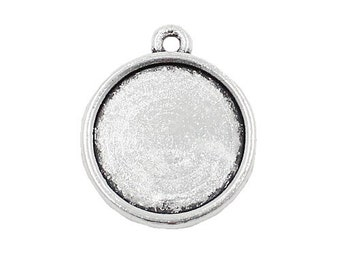 Cabochons bezel Charm, round  Pendants- QTY 5. Antique Silver Two Sides Cabochons charm Fits 11mm Dia. 18x14mm, Add on charm, Stamping charm