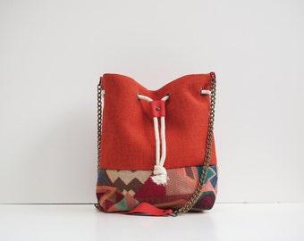 Orange Bucket bag Handbag geometric multicolored pattern handmade with a leather shoulder strap