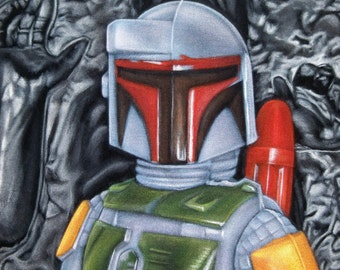 Star Wars Boba Fett Kenner Figure Black Velvet Painting Force Awakens Original Art