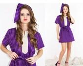 Vintage MOD 60s Purple Retro Graphic Ultra Mini Dress + HEADBAND // Vintage Dresses by TatiTati Style on Etsy