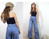 Vintage 70s RARE Old School LEVI STRAUSS Jeans / Faded Bell Bottom  // Vintage Denim by TatiTati Style on Etsy