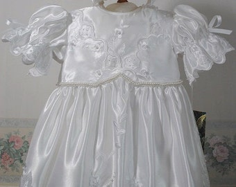 Christening Gown, Bonnet and Seperate Cotton Tulle Petticoat, handmade,  6 - 12 months, Embroidered Bridal Satin, Sequins and Pearls , white