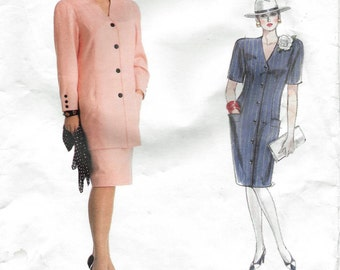 Vogue American Designer 2030 Albert Nipon 80s Dress Tunic Skirt Sewing Pattern Bust 31 32