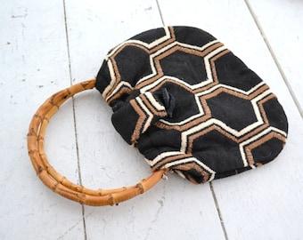 1970s Hexagon Fabric Handbag