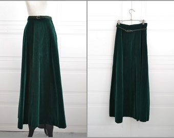 1970s John Meyer Forest Green Velvet Maxi Skirt and Suede Belt