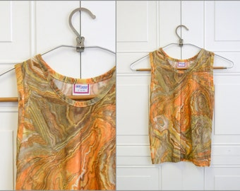 1980s Boys Marble Printed Polyester Tank Top