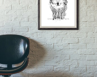 Black and White Wolf Drawing- Giclée Art Print- Wolf Illustration