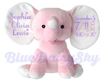 Adorable Personalized Stuffed Animal New Baby Girl