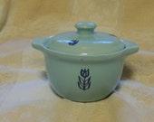 Vintage Cronin TULIP Blue small 8 oz  Bean Pot or Sugar Bowl with lid