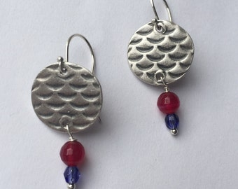 Silver Round Koi Earrings with Ruby Agate and Blue Glass Drops